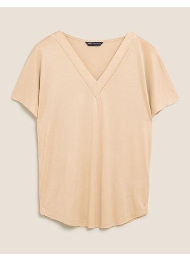 Marks & Spencer V Yaka Kısa Kollu Bluz Renksiz